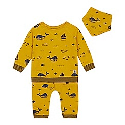 J by Jasper Conran - Babies' yellow whale print top, bottoms and bib set