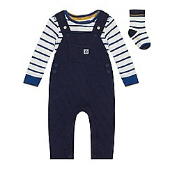 J by Jasper Conran - Babies' navy striped dungarees, bodysuit and socks set
