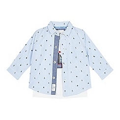 J by Jasper Conran - Babies' blue boat stripe print shirt and t-shirt set