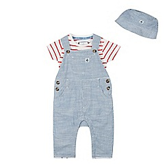 J by Jasper Conran - Babies Blue Striped Cotton Dungarees, Bodysuit and Hat Set
