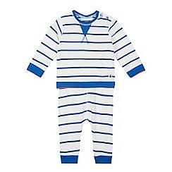 J by Jasper Conran - Babies Blue Striped Cotton Sweatshirt and Bottoms Set