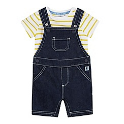 J by Jasper Conran - Baby Boys' Navy Denim Dunagrees and Striped Bodysuit Set