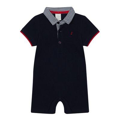 J By Jasper Conran   Baby Boys' Navy Checked Polo Romper Suit by J By Jasper Conran