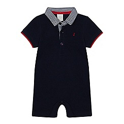 J by Jasper Conran - Baby Boys' Navy Checked Polo Romper Suit