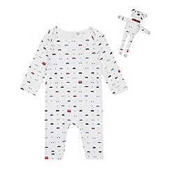 J by Jasper Conran - Babies' White Transport Sleepsuit and Teddy Bear