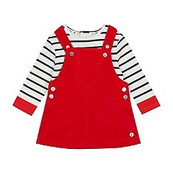 J by Jasper Conran - Babies' Red Cord Pinny and Striped T-Shirt Set