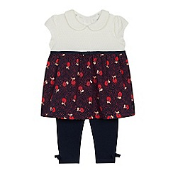 J by Jasper Conran - Baby Girls' Navy Floral Print Tunic and Leggings Set