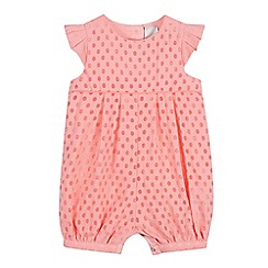 J by Jasper Conran - Baby Girls' Pink Spot Burnout Romper Suit