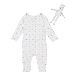 J by Jasper Conran - Babies' white floral print sleepsuit and teddy