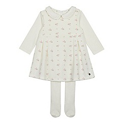 J by Jasper Conran - Baby Girls' Off White Floral Print Velour Pinafore, Top and Tights Set
