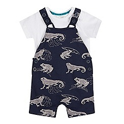 Mantaray - Baby Boys' Navy Lizard Print Dunagrees and Bodysuit Set