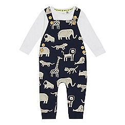 Mantaray - Babies' navy animal print dungarees and bodysuit set
