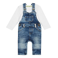 Mantaray - Babies' Blue Denim Dungarees and Bodysuit Set