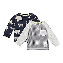 Mantaray - 2 Pack Baby Boys' Navy Animal Print Tops