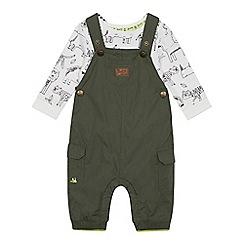 Mantaray - Babies' Khaki Dungarees and Bodysuit Set