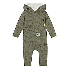 Mantaray - Babies' khaki green animal print onesie