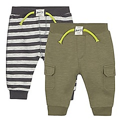 Mantaray - 2 pack babies' khaki striped jogging bottoms