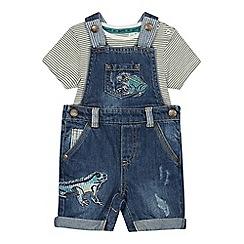 Mantaray - Babies' Blue Denim Dungarees and Bodysuit Set