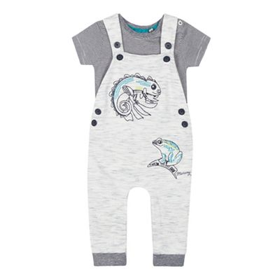 6cf6b2b7f66d2 Mantaray - Babies Grey Lizard Applique Dungarees and Striped Bodysuit Set