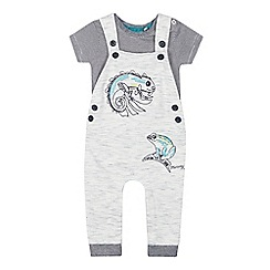 Mantaray - Babies Grey Lizard Applique Dungarees and Striped Bodysuit Set