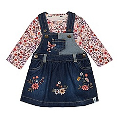 Mantaray - Girls' Blue Floral Embroidered Pinny and Top Set