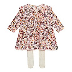Mantaray - Baby girls' pink floral print dress and tights set