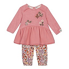 Mantaray - Baby Girls' Dark Pink Floral Embroidered Top and Leggings Set