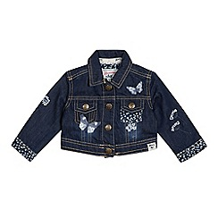 Mantaray - Baby Girls' Blue Denim Embroidered Jacket