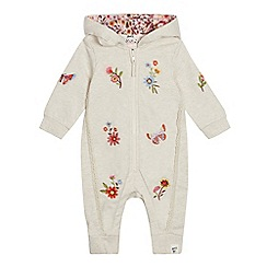 Mantaray - Baby Girls' Natural Floral Embroidered Snugglesuit