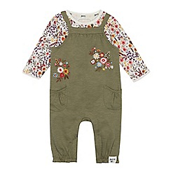 Mantaray - Babies' green floral jersey dungarees and top set