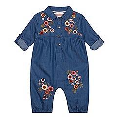 Mantaray - Baby Girls' Blue Embroidered Denim Romper Suit