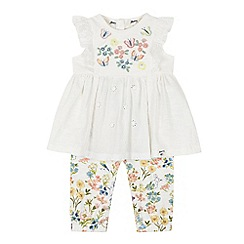 Mantaray - Baby Girls' Off White Embroidered Tunic and Leggings Set