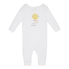 bluezoo - Babies' White Chick Print Cotton Sleepsuit