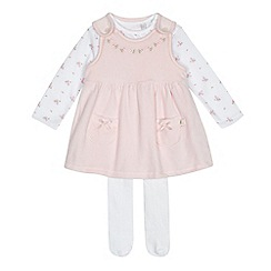 J by Jasper Conran - Baby girls' light pink pinafore, floral printed bodysuit and tights set
