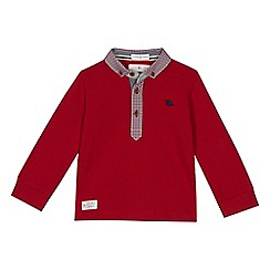 J by Jasper Conran - Boys' red textured long sleeve polo shirt