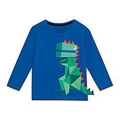 bluezoo - Boys' blue dinosaur print zip detail top