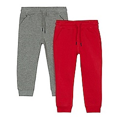 bluezoo - Pack of two boys' grey and red jogging bottoms