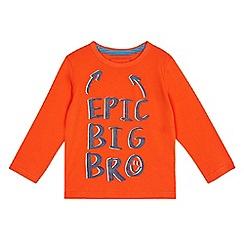 bluezoo - Boys' orange 'Epic big bro' print t-shirt