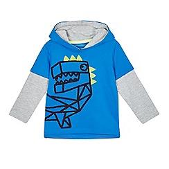 bluezoo - Boys' blue dinosaur mock sweater