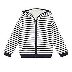J by Jasper Conran - Boys' white and navy striped zip through sweater