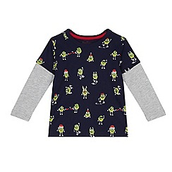 bluezoo - Boys' navy Christmas sprout print mock top