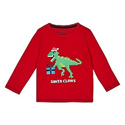 bluezoo - Boys' red dinosaur Santa print t-shirt