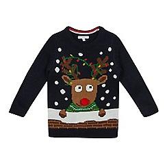 bluezoo - Boys' navy Rudolph Christmas jumper
