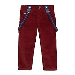 J by Jasper Conran - Boys' dark red slim fit cord trousers with braces