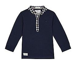 J by Jasper Conran - Boys' navy textured long sleeve polo shirt