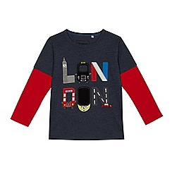bluezoo - Boys' navy 'London' applique mock top
