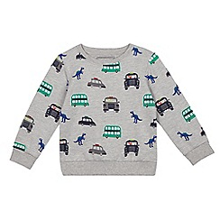 bluezoo - Boys' grey dinosaur print jumper