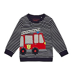 bluezoo - Boys' navy stripe fire engine applique sweatshirt