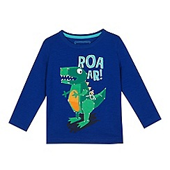 bluezoo - Boys' blue dinosaur applique top