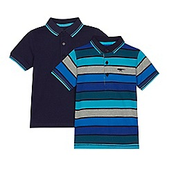 bluezoo - Pack of two boys' blue striped polo shirts